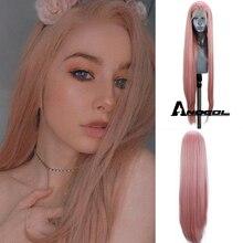 Anogol pelucas frontales de encaje sintético para mujer, pelo largo liso Natural, fibra de alta temperatura, color azul, rojo, rosa, gris, negro y blanco