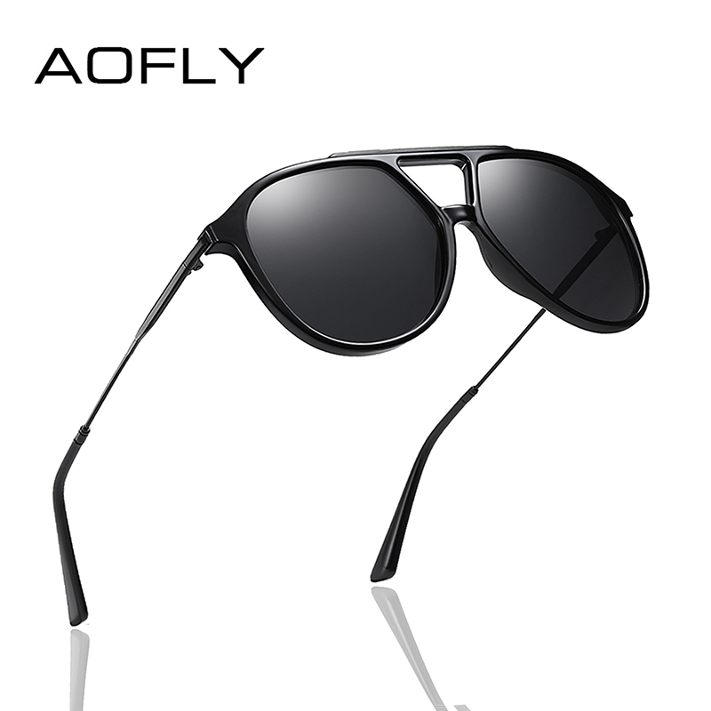 AOFLY BRAND DESIGN Pilot Polarized Sunglasses Men Vintage TR90 Frame Metal Temple Driving Mirror Sun Glasses Women Male UV400
