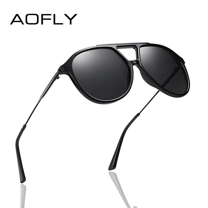 AOFLY BRAND DESIGN Pilot Polarized Sunglasses Men Vintage TR90 Frame Metal Temple Driving Mirror Sun Glasses Women Male UV400