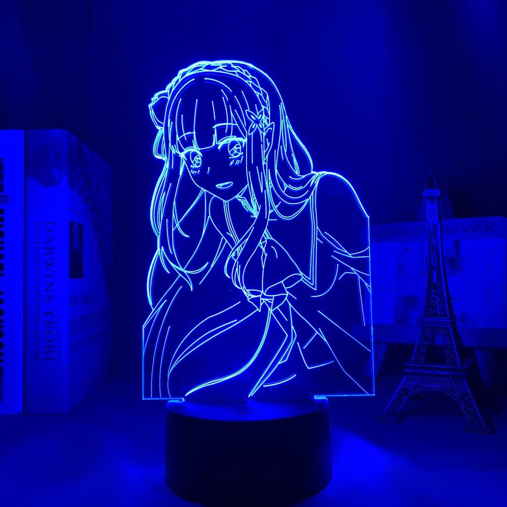 He152ce27b518484dbb3dad32e0ec4ee3b Luminária Anime re zero starting life in another world led night light para decoração do quarto nightlight presente re zero emilia 3d lâmpada