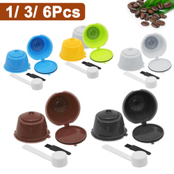 Reusable Coffee Capsule Filters for Nespresso Fit for Dolce Gusto Refillable Coffee Capsules Filter Cup with Spoon Brush