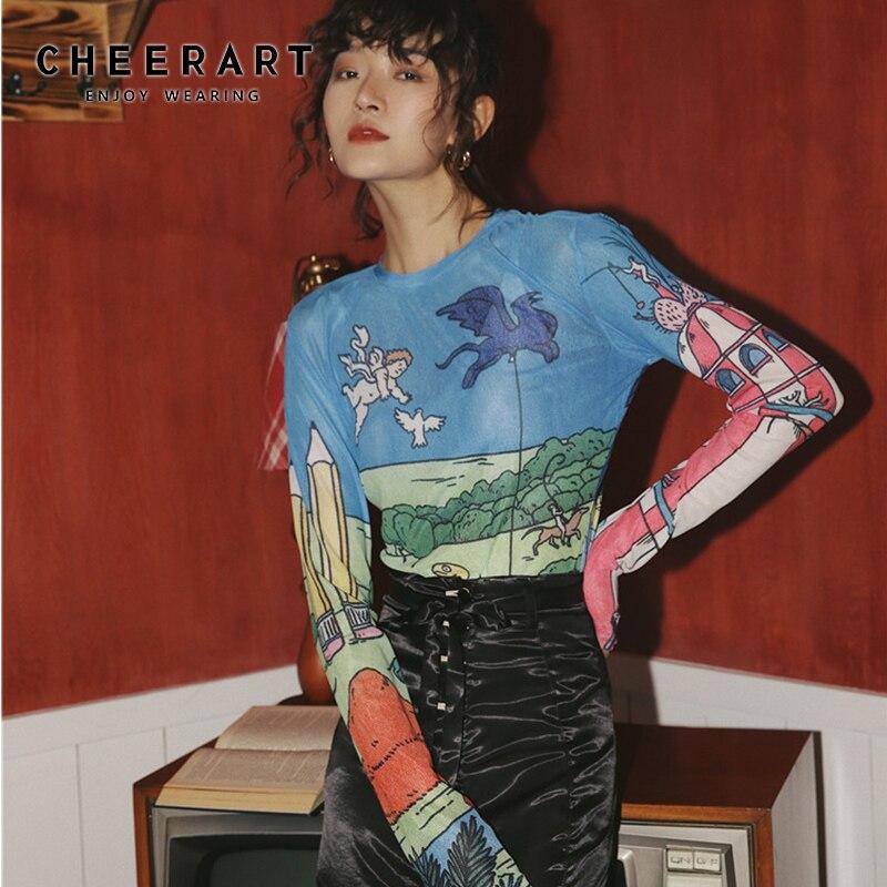 Cheerart Sheer Mesh Top Long Sleeve Tight T Shirt Women See Through Graphic Tees Basic Tshirt Underwear Fall Spring 2020 Fashion
