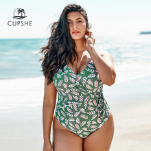 CUPSHE בתוספת גודל עלים הדפסת V צוואר חתיכה אחת בגד ים נשים גדול סקסי פתוח חזרה Monokini בגד ים 2020 חוף ילדה בגדי ים