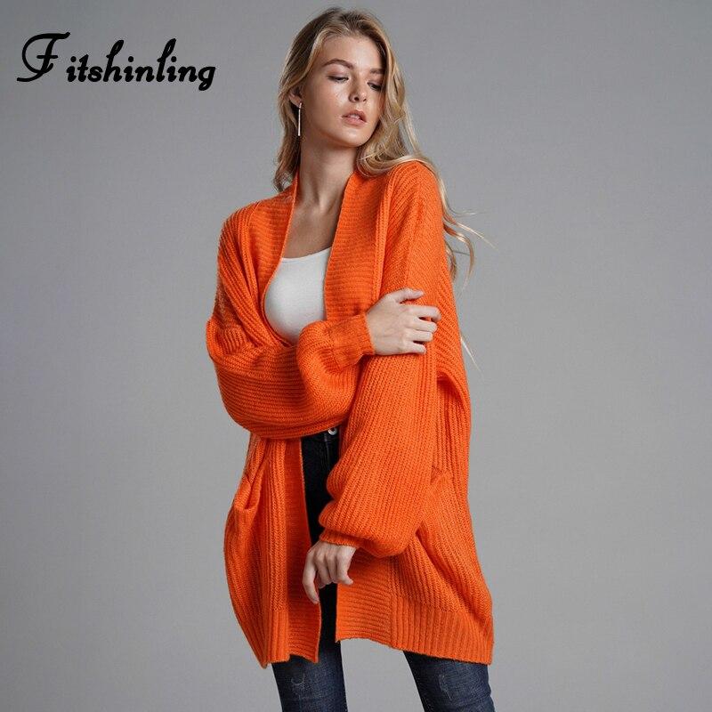 Fitshinling-Chaquetas de Invierno para mujer, abrigos con bolsillos, naranja, Chaqueta de punto de gran tamaño, suéter, cárdigan largo para mujer 2020