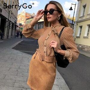 Image 5 - BerryGo Casual geometric long sleeve blouse shirt 2020 Summer spring  women blouses Elegant pink work wear tie neck female top