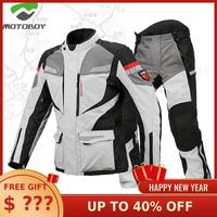 New Motoboy Motorcycle Bike Polyester 600D Oxford Riding Touring 3 Layer Waterproof Warm Jacket&Pant 4 Season Wear CE Protectors