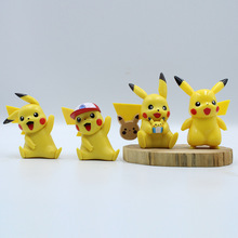 4pcs Cute Pikachu Figures toy Cake Decorations Action PVC Model Toy kids Birthday Gifts 10cm toys cute nyan board cat in danboard mini pvc action figures collectible model toys gifts 10pcs set 7cm