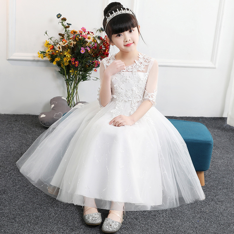 Europe And America Girls Wedding Dress Princess Dress Network Sleeve White For Children Piano Costume Big Boy Formal One-piece D