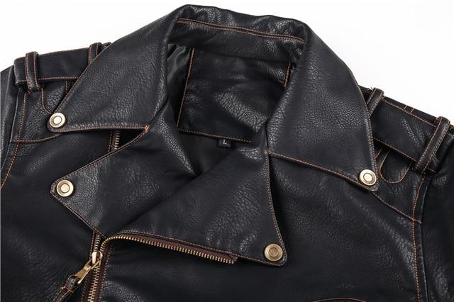 Winter Mens Leather Jacket Men Fashion Motorcycle PU Leather Jacket Cool Zipper Pockets Leather Coats EU Size 6