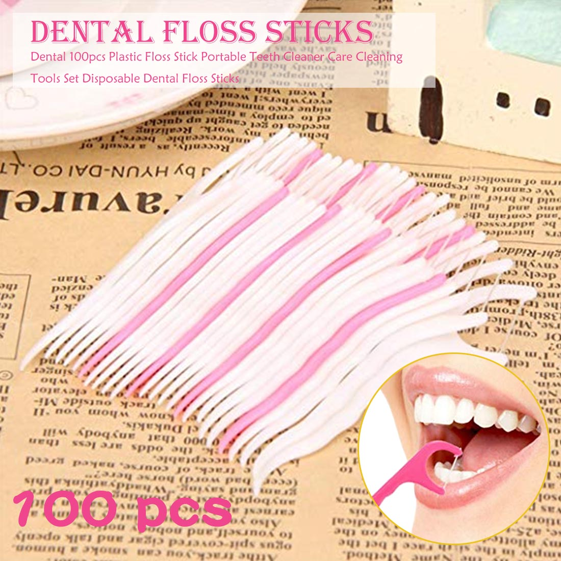 100pcs Portable Teeth Care Cleaner Tooth Cleaning Tools Set For Oral Hygiene Plastic Dental Floss Stick Nylon Wire