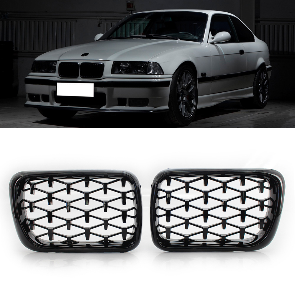 A Pair Diamond Star Style Grill Car Front Kidney Grille For BMW E36 3-Series 318I 323I 328I M3 1997-1999 Chrome Gloss Black