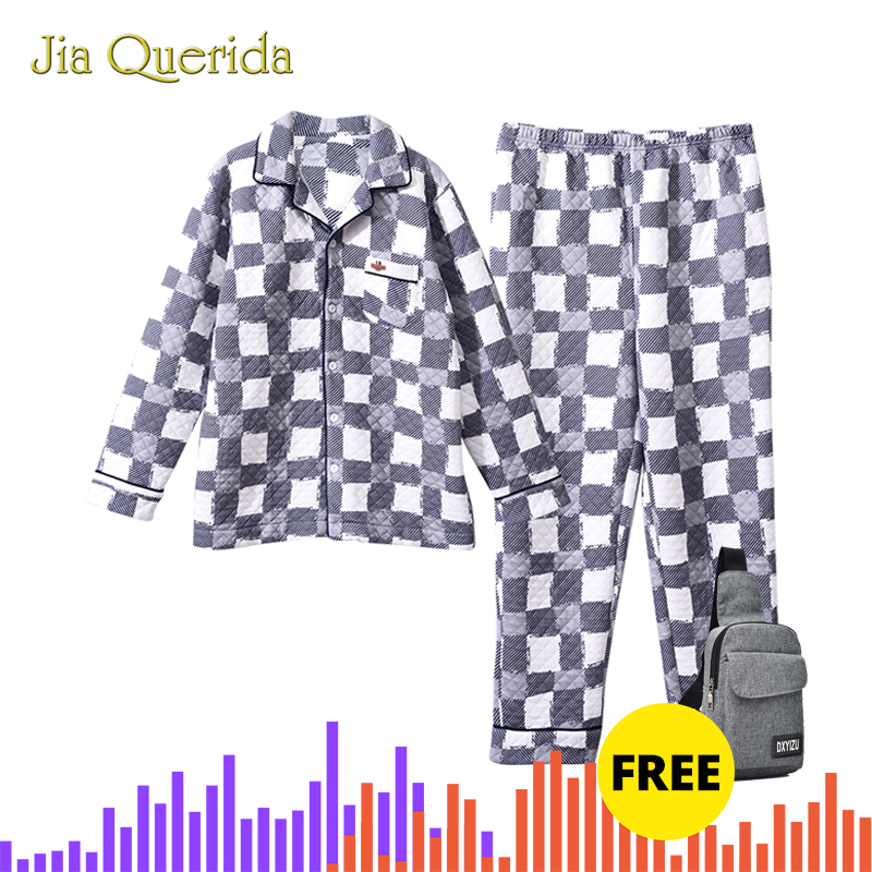 Chinese Pajamas Men Set 100% Cotton Fabric Polyester Padded Sleep Wear Embossing Pattern Pajamas Cardigan Males Home Suit Winter