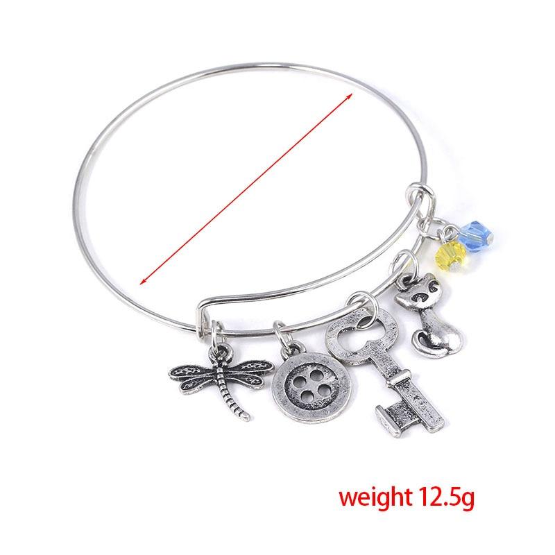 Rj Halloween Jewelry New Movie Coraline Bracelets Bangles Dragonfly Button Key Charms Wrist Cuff Women Men Girl Bijoux Gift Chain Link Bracelets Aliexpress