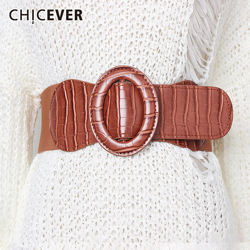 CHICEVER Korean Striped Belt For Women High Waist Dresses Accessories Elastic Tunic Slim Female Belts 2020 Summer Fashion New