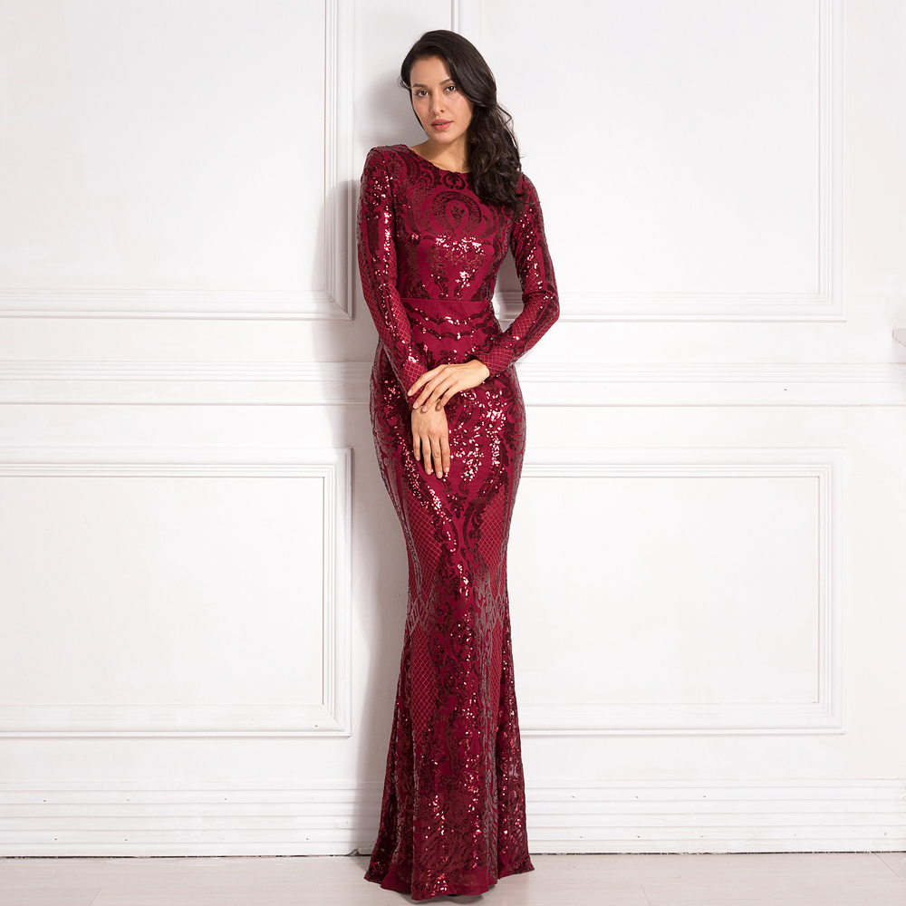 Full Sleeved O Neck Burgundy Evening Party Dress 2019 Autumn Winter Stretchy Long Maxi Dress