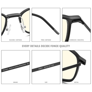 Image 5 - FONEX High Quality TR90 Anti Blue Light Glasses Men Reading Goggles Protection Eyeglasses Gaming Computer Glasses for Women AB01