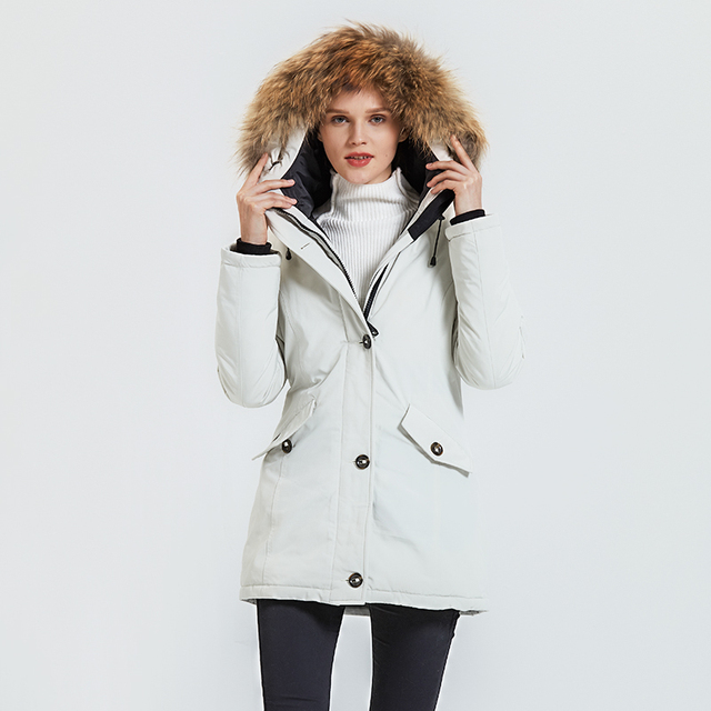 Women's Coat with Raccoon Fur Collar