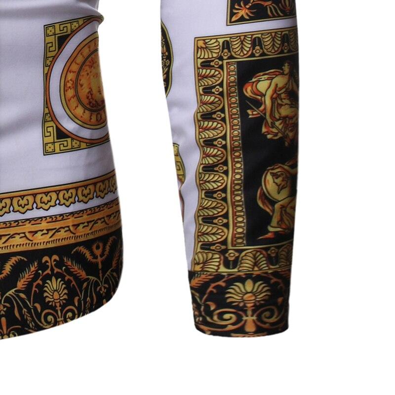 New Fashion Mens Baroque Floral Royal Shirts Luxury Brand Print Designer Dress Shirts Fancy Slim Casual Club Style 6