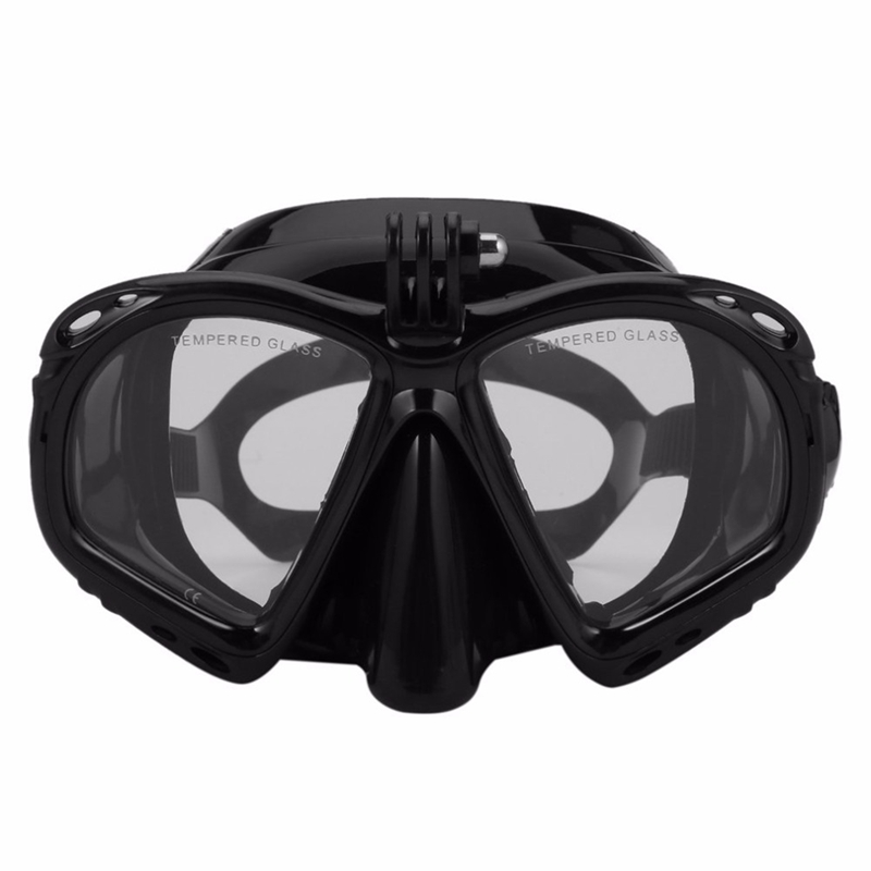 Professional Underwater Diving Mask Scuba Snorkel Swimming Goggles Scuba Diving Equipment Suitable For Most Sport Camera,Black