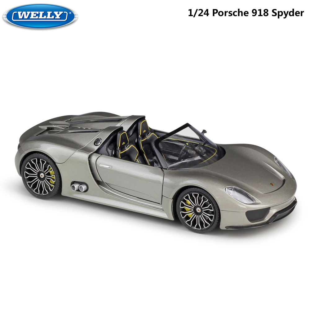 WELLY Diecast Model Car 1:24 Scale Porsche 918 Spyder Racing Car Metal Alloy Toy Car Sports Car For Children Gift Collection