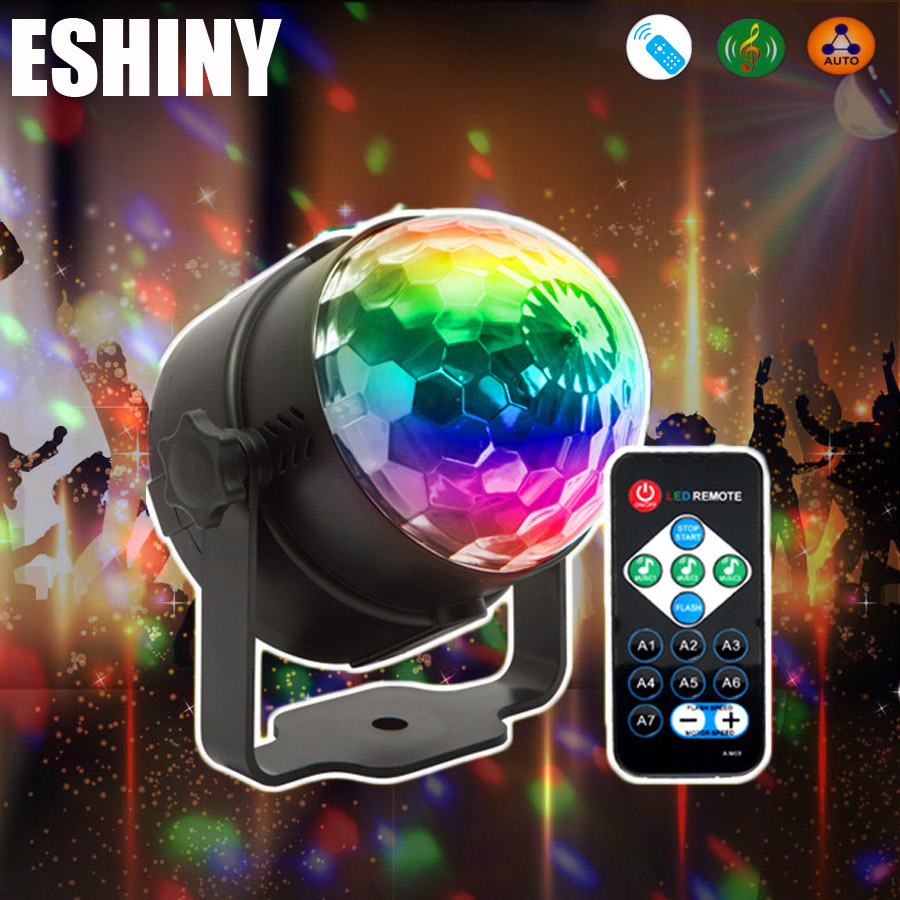 Eshini MINI 3 Вт хрустальный магический шар RGB Светодиодная лампа для сценических эффектов вращающаяся полноцветная DJ Dace вечерняя лампочка для д...