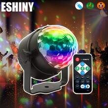 Eshiny mini 3w cristal bola mágica rgb led efeito de palco luz girando cor cheia dj dace festa quarto lâmpada discoteca r5