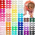 80 stück Baby Haar Clips 2 zoll Haar Bögen Voll gewickelt alligator Clips für Säuglings-und Baby Mädchen 40 Farben in Pairs