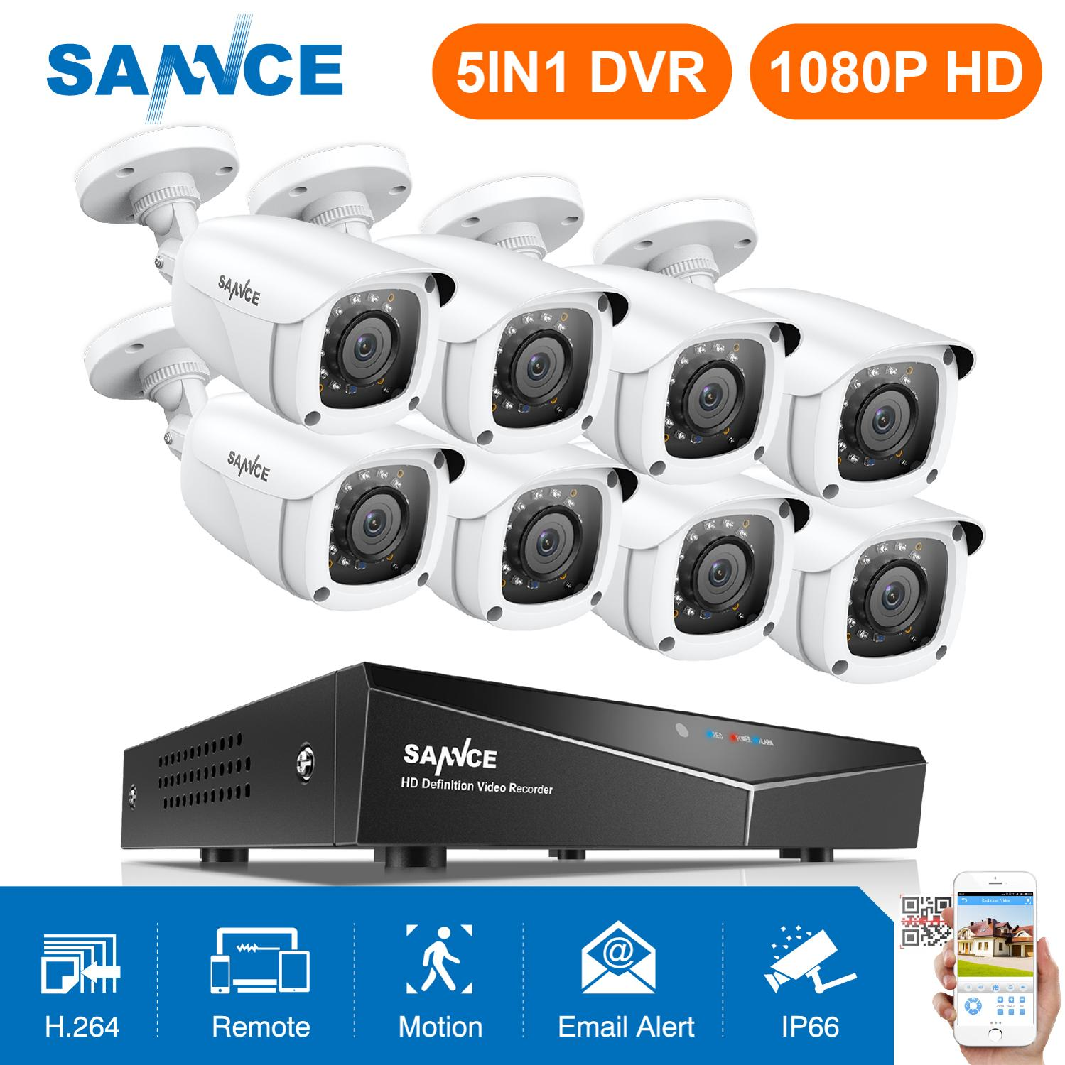SANNCE 8CH 1080P Security CCTV System With 5IN1 1080N DVR 4PCS 8PCS 1080P IR Outdoor Weatherproof Camera Video Surveillance Kit