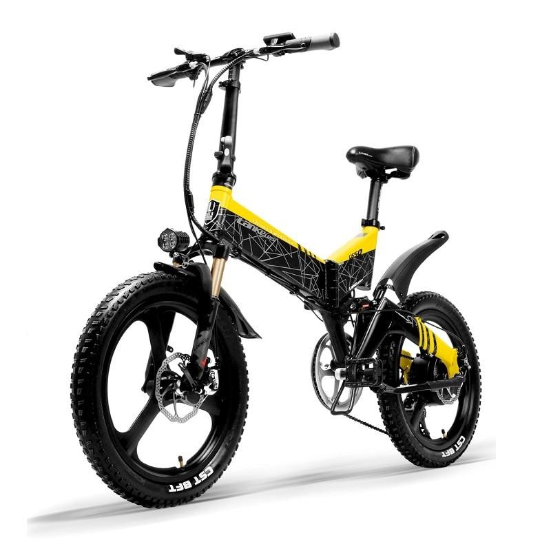 full LANKELEISI Foldable electric bike G650 suspension 7 Speeds 48V 400W Motor 13AH Battery 8