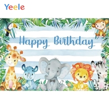 Yeele Baby Birthday Party Backdrop Animal Elephant Zoo Jungle Customized Photocall Vinyl Photography Background For Photo Studio