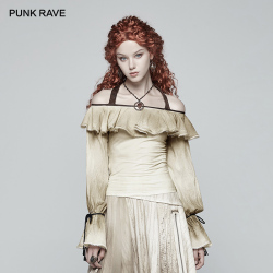 PUNK RAVE Steampunk Vintage Long-sleeved Women Shirts Fashion Party Off-shoulder Halterneck Top Women Sexy Slash Neck Blouse