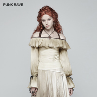PUNK RAVE Steampunk Vintage Long sleeved Women Shirts Fashion Party Off shoulder Halterneck Top Women Sexy Slash Neck Blouse