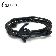 CUTEECO Bracelets Bangles For Men Women Hot Handmade Rope Bangle Gold Color Anchor Bracelet New Fashion Black