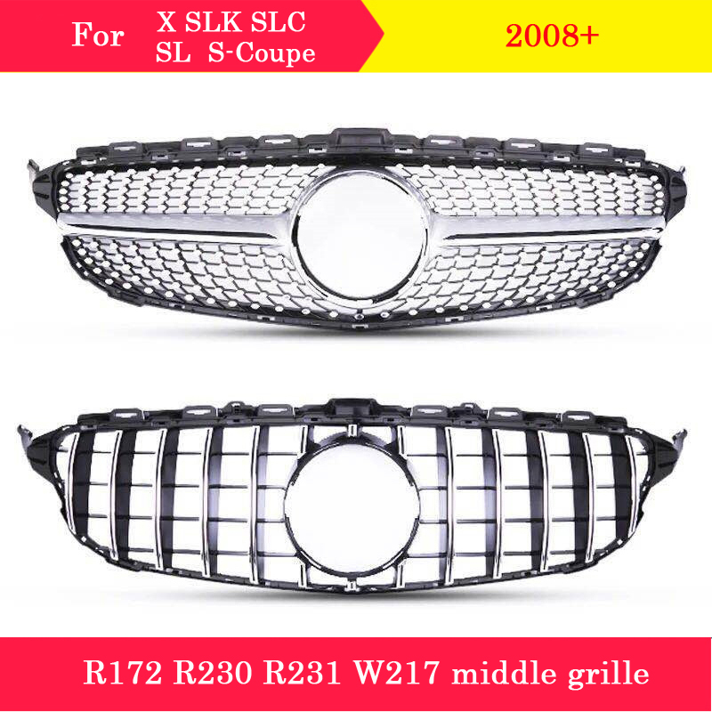 ABS plastic Diamond GT front grille Car styling Middle grille for <font><b>Mercedes</b></font>-Benz X SLK SLC <font><b>SL</b></font> S-Coupe R172 <font><b>R230</b></font> R231 W217 C217 image