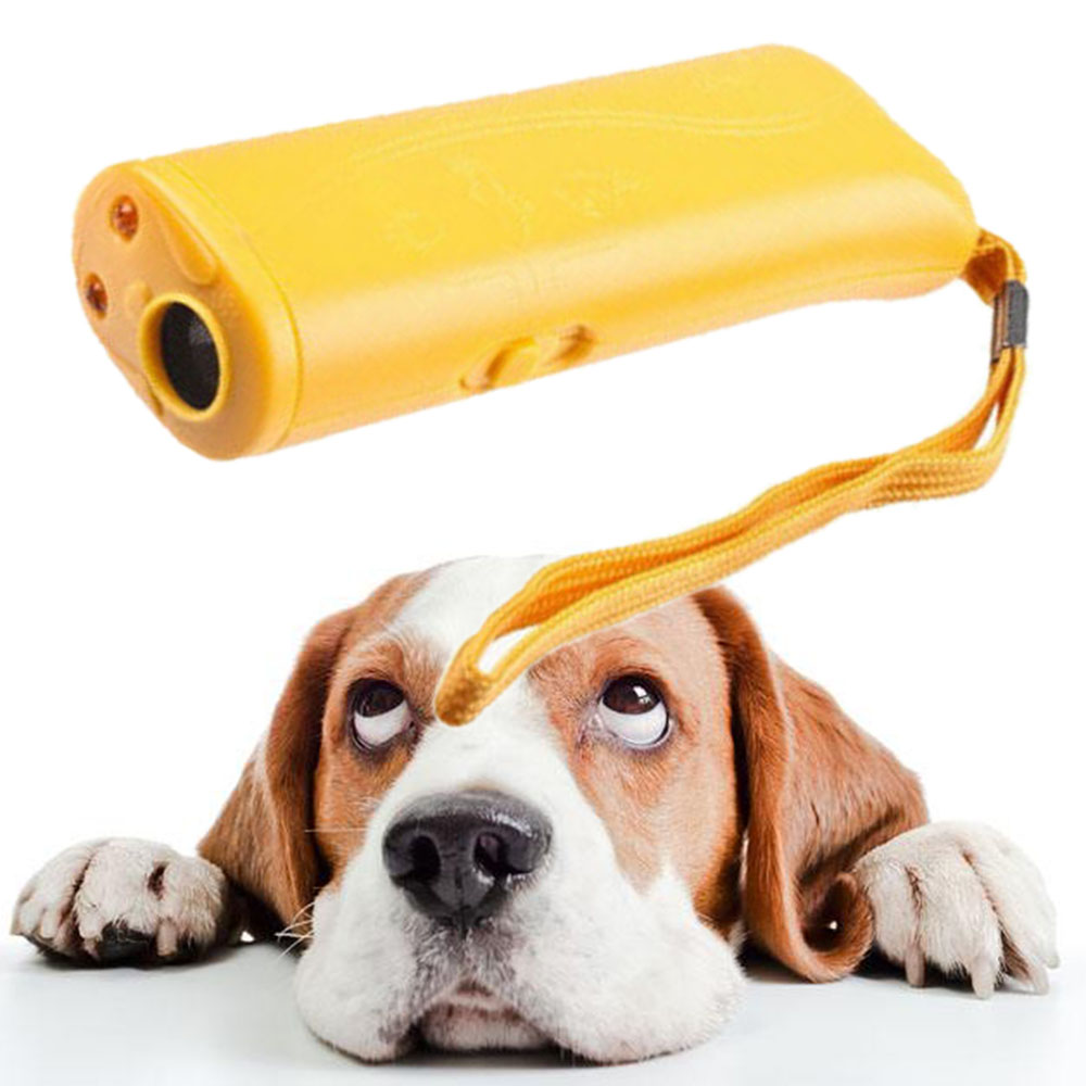 3 In 1 Ultrasonic Dog Training Repeller Control Anti-barking Stop Bark Trainer Device Dogs Pet Training Equipment Without Batter