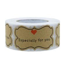 Especialmente para você 300 pces/rolo 2*1.2 polegada kraft papel adesivos retângulo lables assar alimentos embalagem diy artesanato selos adesivos