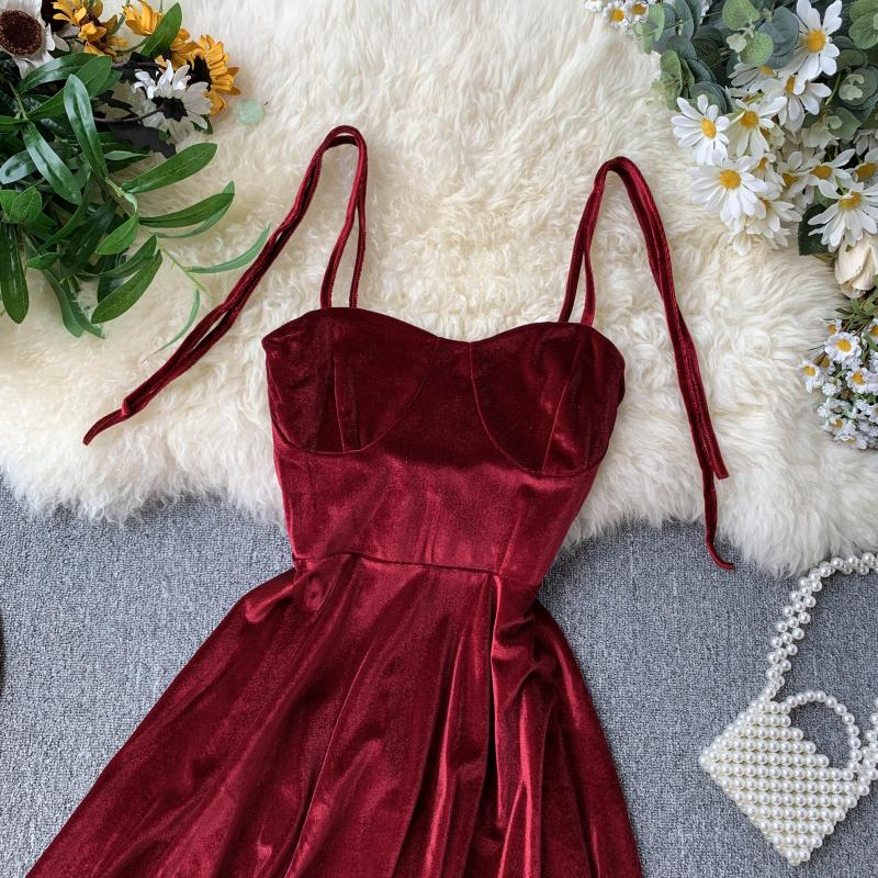Vintage Spaghetti Strap Backless Bodycon Mini Velvet Dress 4