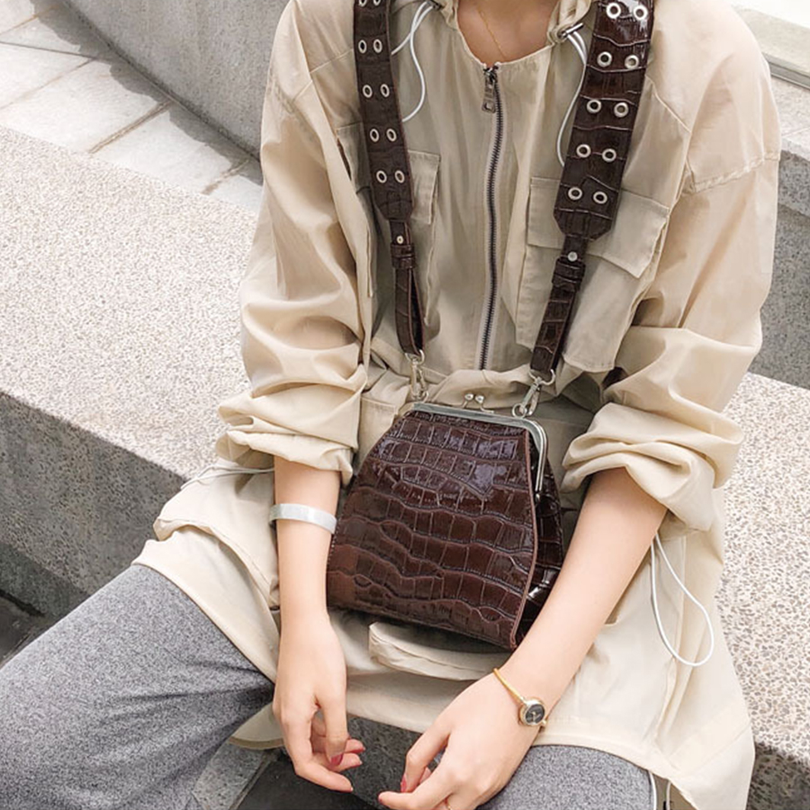 Vintage Crocodile Pattern Bags For Women Luxury Alligator Shoulder Messenger Bags Designer Croc Pu Leather Women Crossbody Bags