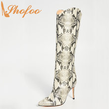 Snake Skin High Thin Heels Pointed Toe Knee Long Boots Slip On Ladies Winter Warm Fashion Women Shoes Large Size 13 16 Shofoo(China)