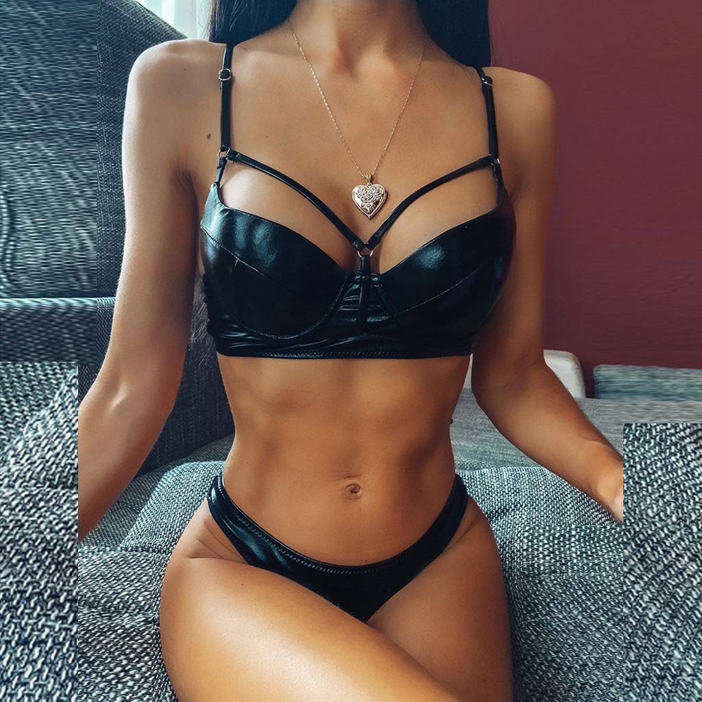 2020 Women's Biquini Solid Color Bright Leather Split Underwear Set Hollow Out Bathing Suit Push Up Padded Female Intimates