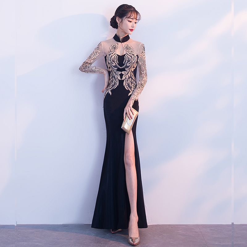 Evening     Dress   Hollow Split Women Party   Dresses   Full Sleeve Elegant Robe De Soiree 2019 High Collar Appliques Formal Gowns F192