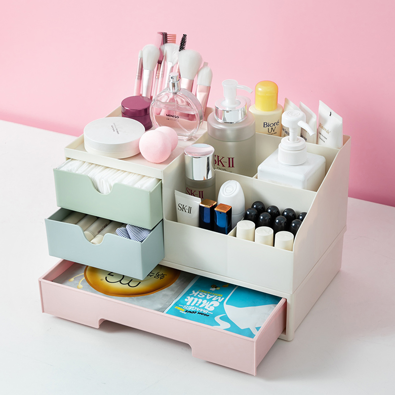 Desktop Makeup Drawers Storage Box Jewelry Stationery Organizer For Cosmetics Plastic Make Up Container Organizer Storage Boxes