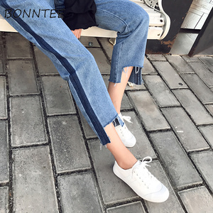 Image 4 - Jeans Women Striped Retro Loose Straight Daily Womens Ankle length All match Simple Pockets Student Patchwork High Waist Leisure