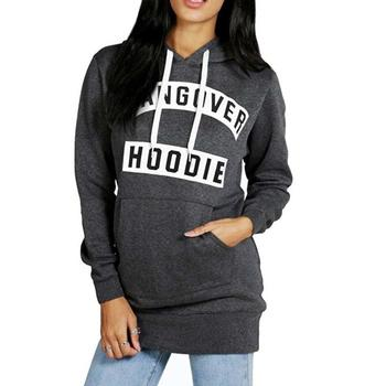цена на Women Casual Hoodies Outwear Drawstring Hooded Long Sleeve Letter Pullover Fleece Hoodie Sweatshirt Gray Black