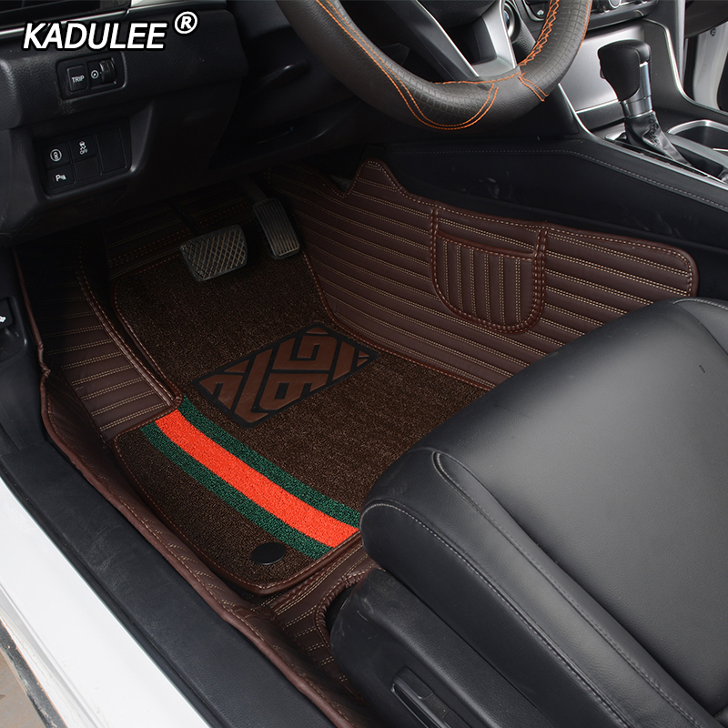 KADULEE Custom car <font><b>floor</b></font> <font><b>mats</b></font> for <font><b>BMW</b></font> <font><b>e30</b></font> e34 e36 e39 e46 e60 e90 f10 f30 x1 x3 x4 x5 x6 1/2/3/4/5/6/7 series Double foot <font><b>mats</b></font> image