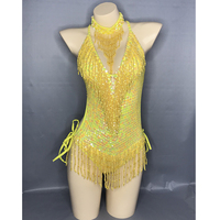Flashing Yellow Sequins One Piece Bodysuit Women's Singer Dance Sexy Evening Carnival Costumes Stage Dance Wear Nightclub Outfit