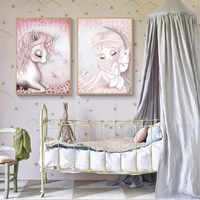 Nordic Poster Unicorn Baby Poster Nursery Posters Prints Pink Canvas Painting Wall Art Wall Pictures For Kids Girl Room Decor