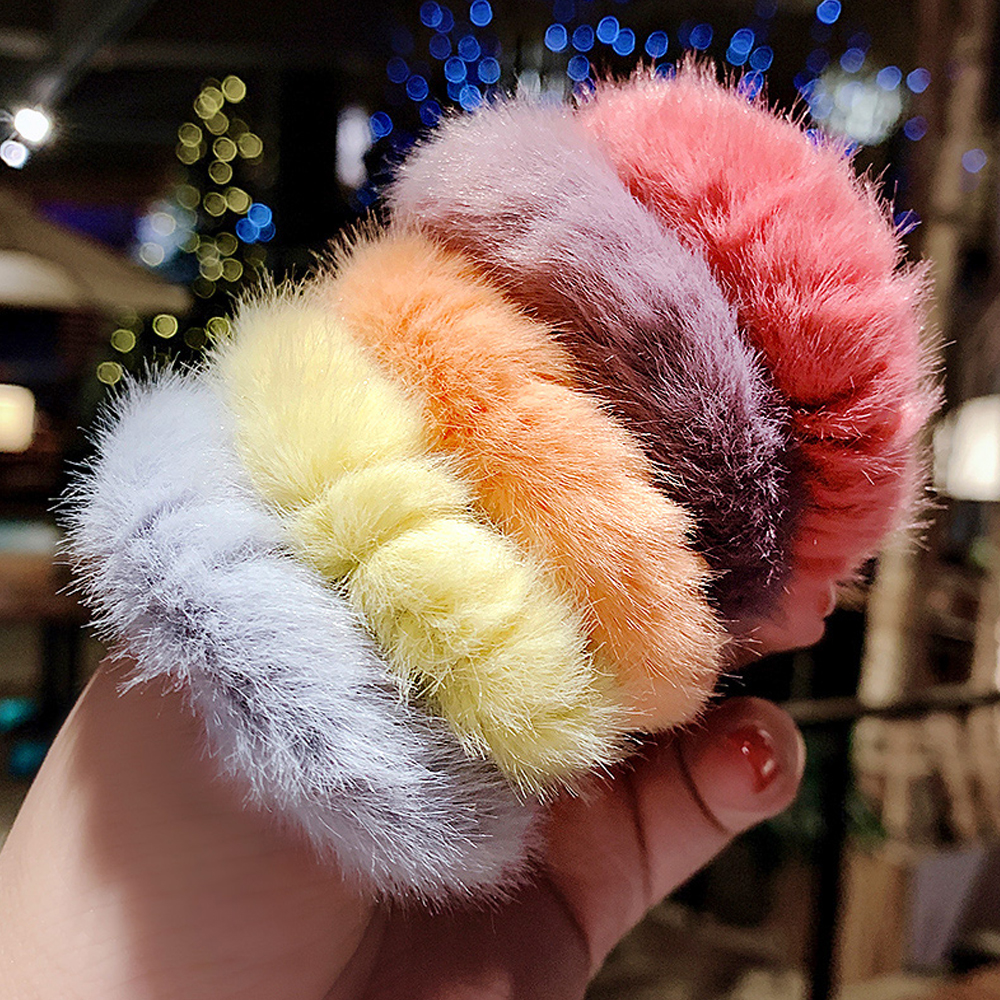 1PC Winter Korea Colorful Soft Fur Women Elastic Hair Rope Scrunchies Rubber Tie Ponytail Holder Headband Hair Band Accessories