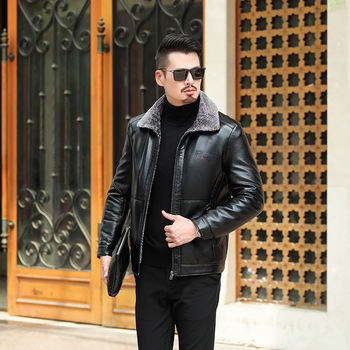 Winter Thicken Keep Warm Male Fur One Piece Leather Coat Plus Fat plus Leather Jacket Middle Age Fat Man Plus Velvet Keep