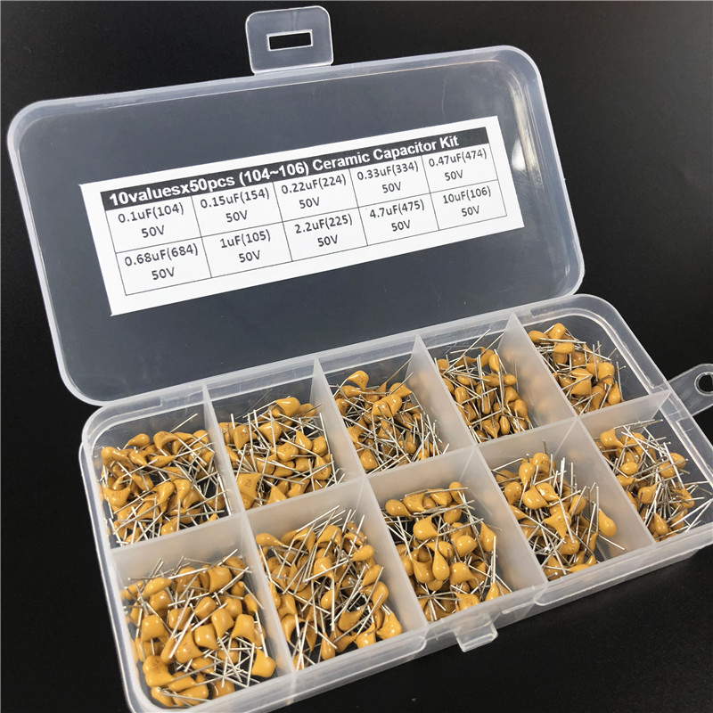 Assorted-Kit Ceramic Capacitor 30valuesx50 10pf--10uf 1500pcs with 3-Storage-Box 3-Storage-Box